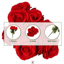 Load image into Gallery viewer, Artificial 9 Head Red And Purple & Peach Rose Flowers With Stem.