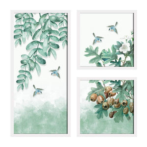 Art Street Bird Floral Theme in Framed Printed Set of 3 Wall Art Print, Painting
