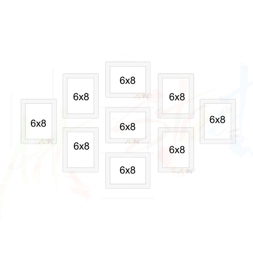 Parallel Set of 9 Individual White Wall Photo Frame