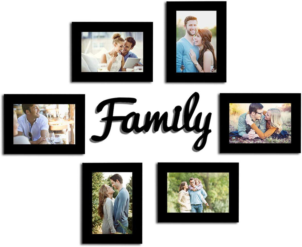 Family Wall Photo Frame Set With Family MDF Plaque