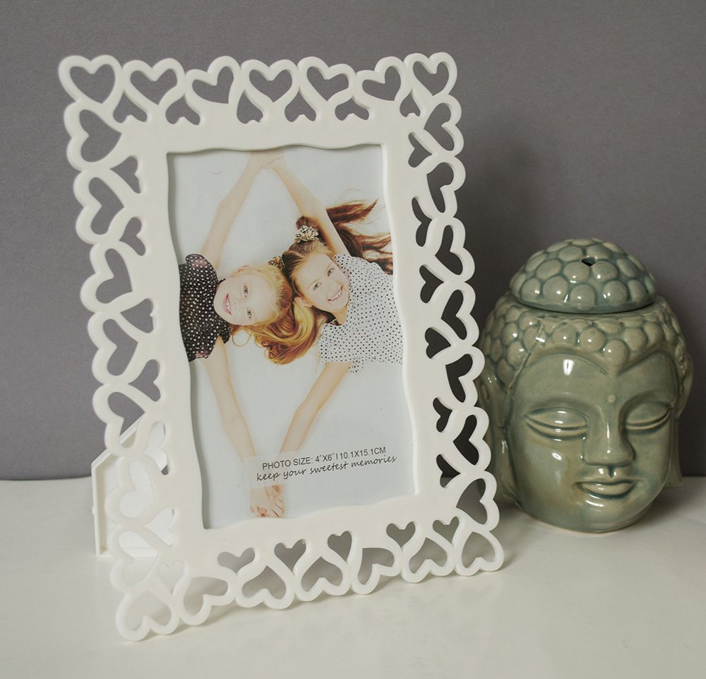 Decoralicious Designer White Heart Table Top Photo Frame Perfect For Office & Home Decor