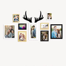 Load image into Gallery viewer, 9 Individual Multicolored Wall Photo Frames Wall Hanging With Horn Shape Plaque