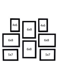 Black Wall Photo Frames Wall Set of 8