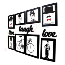 Load image into Gallery viewer, Live Laugh Love Gallery Wall Set of 8 Individual Black Wall Quotes Framed with Art Prints + Live Laugh Love Cutout