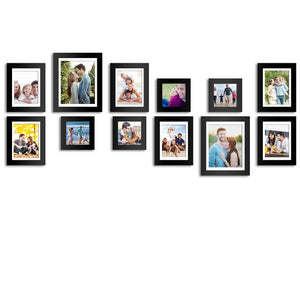 Set of 12 Individual Black Wall Photo Frames