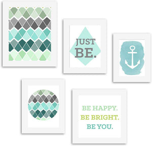 Be You Set of 5 Individual Wall Quote Quotes Framed Wall Poster # Wallessential