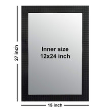 Load image into Gallery viewer, Black Classy & Trendy Bar Textured Home Decor Wall Mirror 15 x 21 Inch