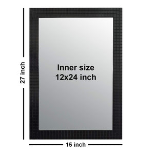 Black Classy & Trendy Bar Textured Home Decor Wall Mirror 15 x 21 Inch