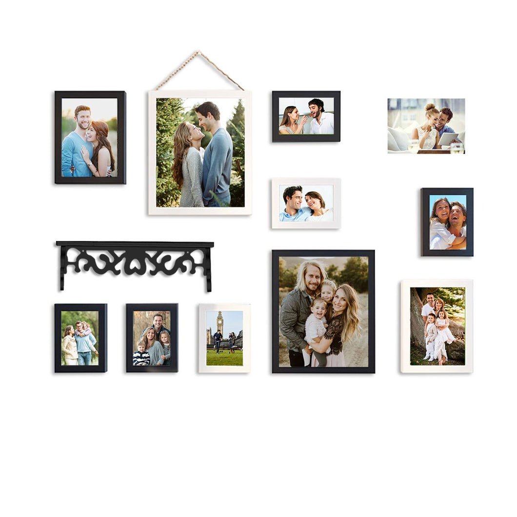 11 Individual Black & White Wall Photo Frames Wall Hanging With Wall Shelf