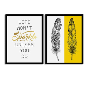 Art Street Yellow Sparkle Feather Matte Art Print, Painting for Home Décor Set of 2