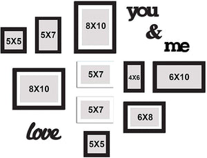 Individual Black & White Wall Photo Frames Wall Decor Set With MDF Plaque