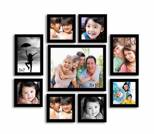 Onmium Black Photo Frame - Set of 9 Individual Wall Photo Frames