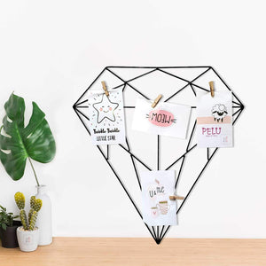 Diamond Shape DIY Metal Photo Grid Wall for Photo Hanging