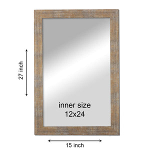 White Gold Flat Decorative Wall Mirror/Looking Glass Inner Size 12 x 18 inch, Outer Size 15 x 21 inch