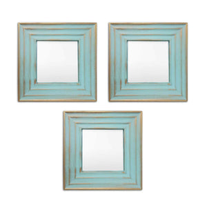 Glass PVC  Large Mirror (10 x 10 Inches, Blue, Set of 3)