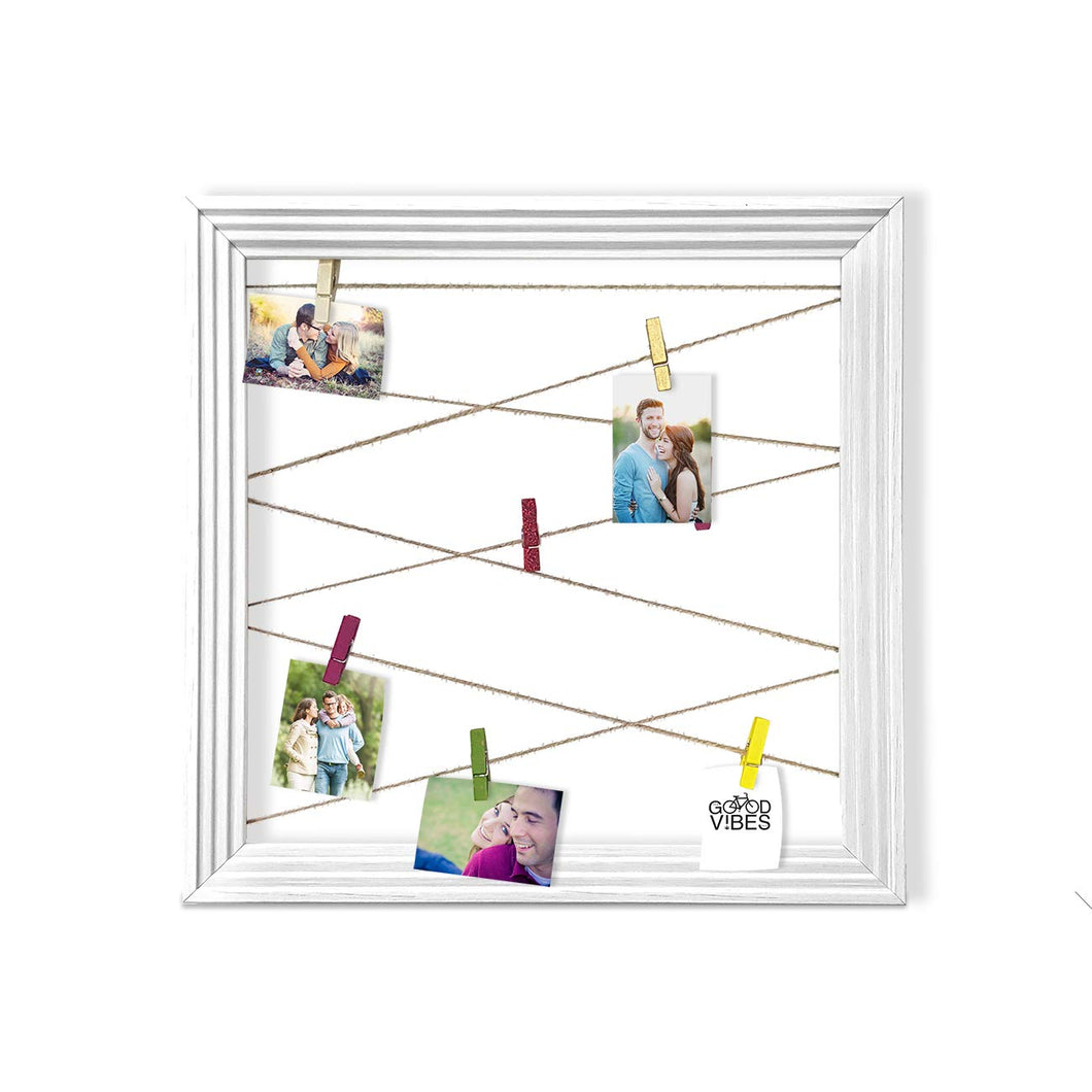 Wooden MDF Photo Hanging Frame With Photo Hanging Clip - White - Size - 13.5 x 13.5 Inch