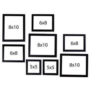 Black Wall Photo Frames Set of 8