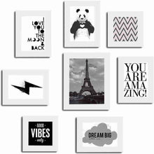 Load image into Gallery viewer, Set of 8 Quotes / Mix Quotes Framed Wall Posters-Theme Wall Quotes - You Are Amazing :: Good Vibes Only :: Dream Big :: Love :: Panda (White) # Wallessential