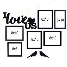 Load image into Gallery viewer, I Love US - Set of 6 Individual Black Photo Frame With MDF Plaque (I Love US + 2 Birds)