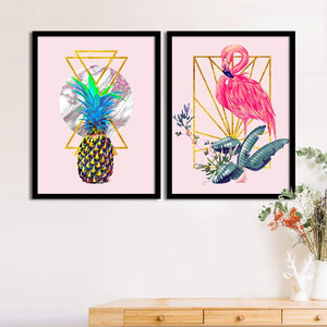 Art Street Pink Flamingo Pineapple Matte Art Print, Painting for Home Décor Set of 2