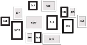 Atlantis Black and White Collage Wall Photo Frames Set