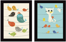 Load image into Gallery viewer, Birds Theme 2 Poster Set With Frame For Kids Room - 13.5 X 17.5 Inch
