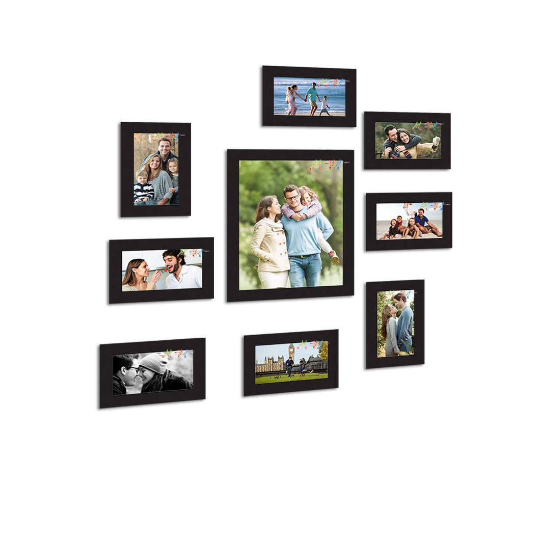 9 Individual Black Wall Photo Frames Wall Hanging Decor Set