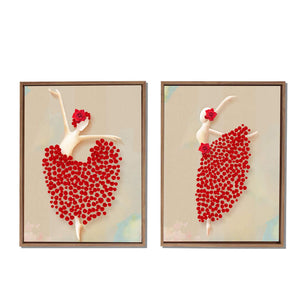 Red Floral Dancing Lady Framed Canvas Painting