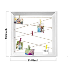 Load image into Gallery viewer, Wooden MDF Photo Hanging Frame With Photo Hanging Clip - White - Size - 13.5 x 13.5 Inch