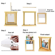 Load image into Gallery viewer, Rotating Photo Frame Double Sided Wooden Picture Frame 5'' x 7'' Inch.