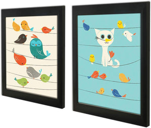 Birds Theme 2 Poster Set With Frame For Kids Room - 13.5 X 17.5 Inch