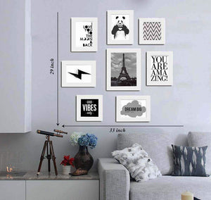 Set of 8 Quotes / Mix Quotes Framed Wall Posters-Theme Wall Quotes - You Are Amazing :: Good Vibes Only :: Dream Big :: Love :: Panda (White) # Wallessential