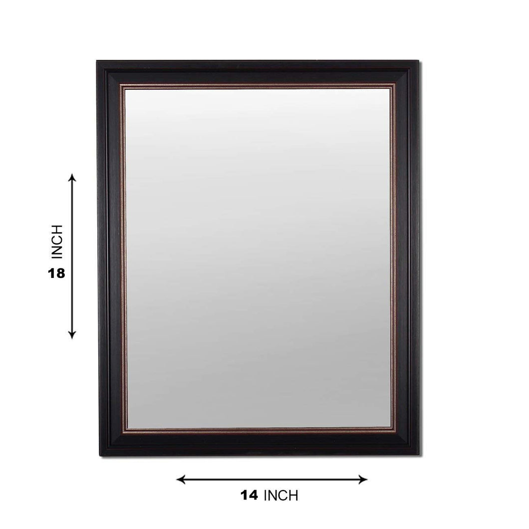 Black Rectangle Synthetic Modern Warnish Decorative Wall Mirror Inner Size 12X16 inch, Outer Size 15X18 Inch
