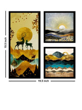 Load image into Gallery viewer, Art Street Forest Theme in Framed Printed Set of 3 Wall Art Print, Painting