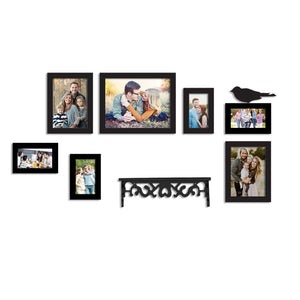 7 Black Wall Photo Frames With 1 Bird And 1 Shelf MDF Plaque
