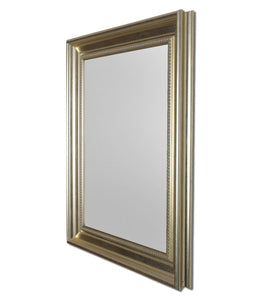 Silver Rectangle Synthetic Pearl Wall Mirror Inner Size 12X16 inch, Outer Size 15X18