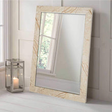 Load image into Gallery viewer, Marble Finish Wall Decorative Mirror For Home And Bathroom - 12 x 18 Inch, Color - Beige