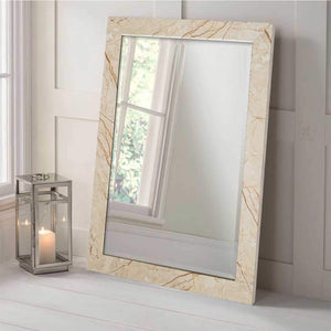 Marble Finish Wall Decorative Mirror For Home And Bathroom - 12 x 18 Inch, Color - Beige