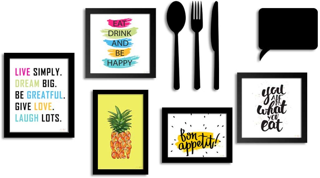 Art Print Wall Photo Frame For Dining Table, Kitchen Or Eating Area With MDF Cutlery And Chalk Board