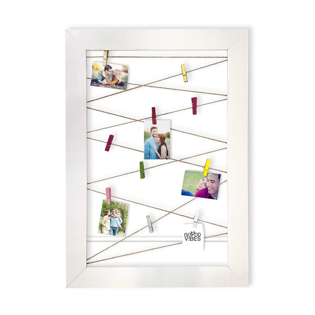 Wooden MDF Photos Frame With Photos Hanging Clip - White -Size - 20.5 x 14.5 Inches