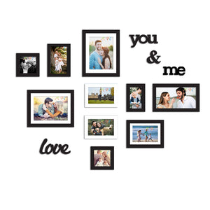 10 Black & White Wall Photo Frames With MDF Plaque You & Me And Love