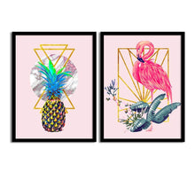 Load image into Gallery viewer, Art Street Pink Flamingo Pineapple Matte Art Print, Painting for Home Décor Set of 2