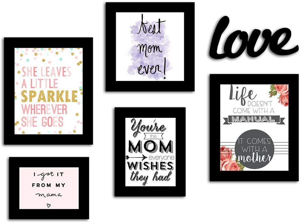 Mother's Day / Birthday Gift Set Of 5 Black Photo Frame