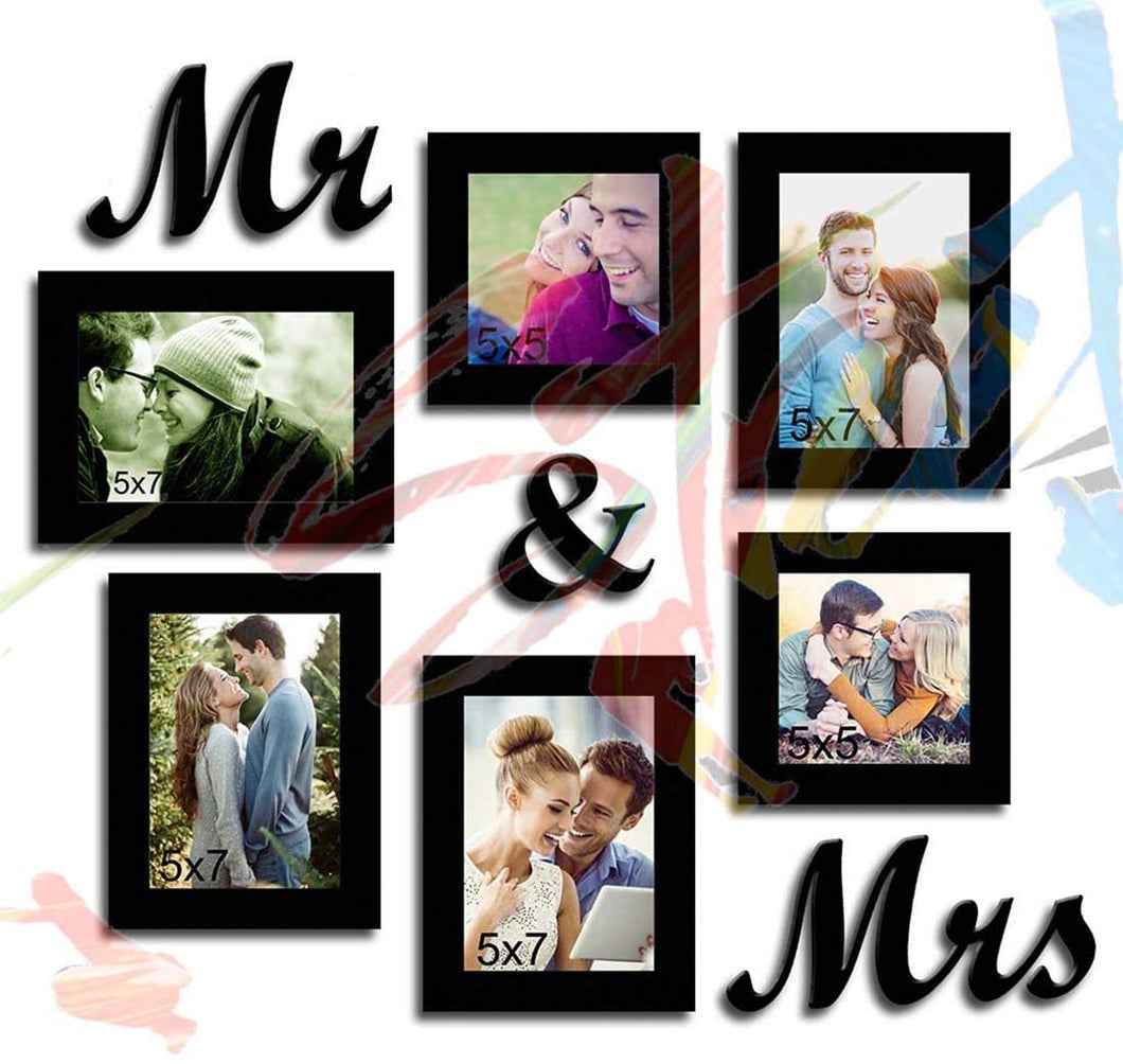 Together Forever Individual Wall Photo Frames With Mr & Mrs MDF Plaque