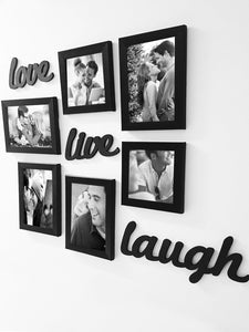 Live-Love-Laugh Set of 6 Black Fiber Wood Wall Photo Frames with MDF Plague