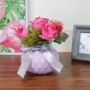 Artificial  Rose Flowers Plants in Ceramic Pot/Planter for Home.