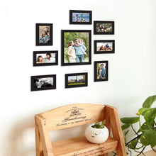 Load image into Gallery viewer, 9 Individual Black Wall Photo Frames Wall Hanging Decor Set