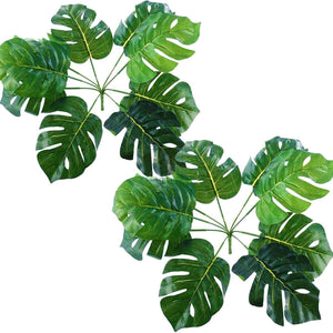 Green Color Multi Head Artificial Tropical Palm Leaves