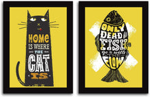Load image into Gallery viewer, Motivational Quote 2 Poster Set With Frame # ONLY Dead Fish GO With Flow