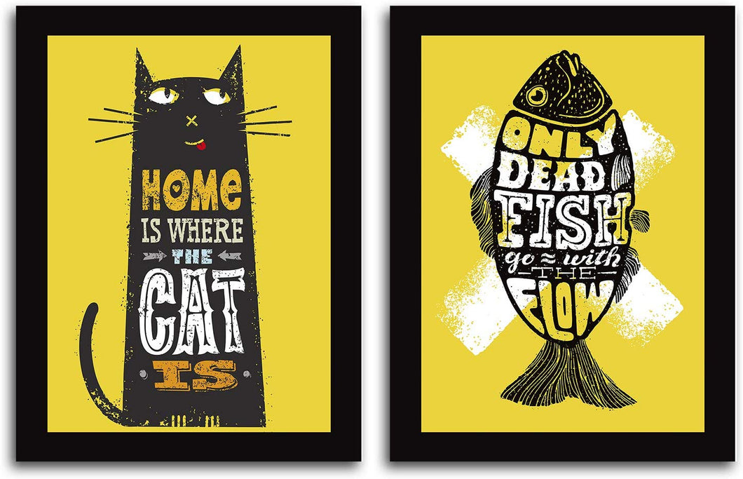 Motivational Quote 2 Poster Set With Frame # ONLY Dead Fish GO With Flow